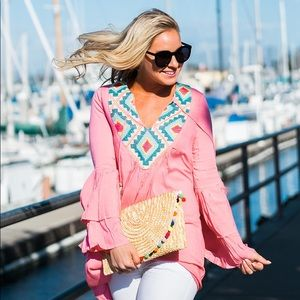 Tops - Pink embroidered bell-sleeve tunic